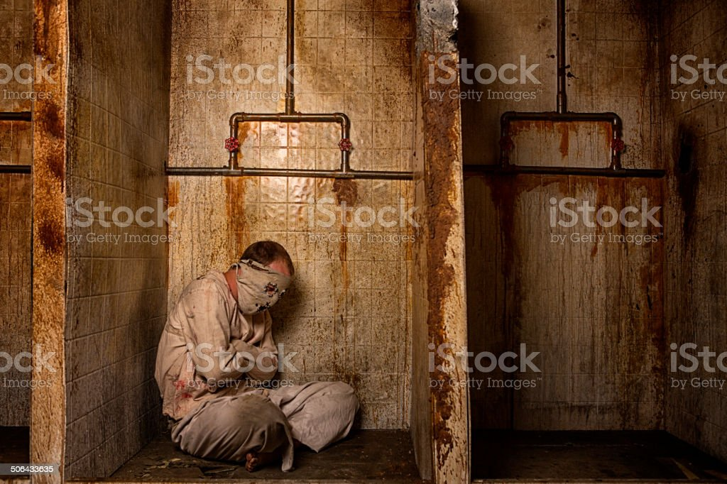Mental Patient in the Shower stock photo