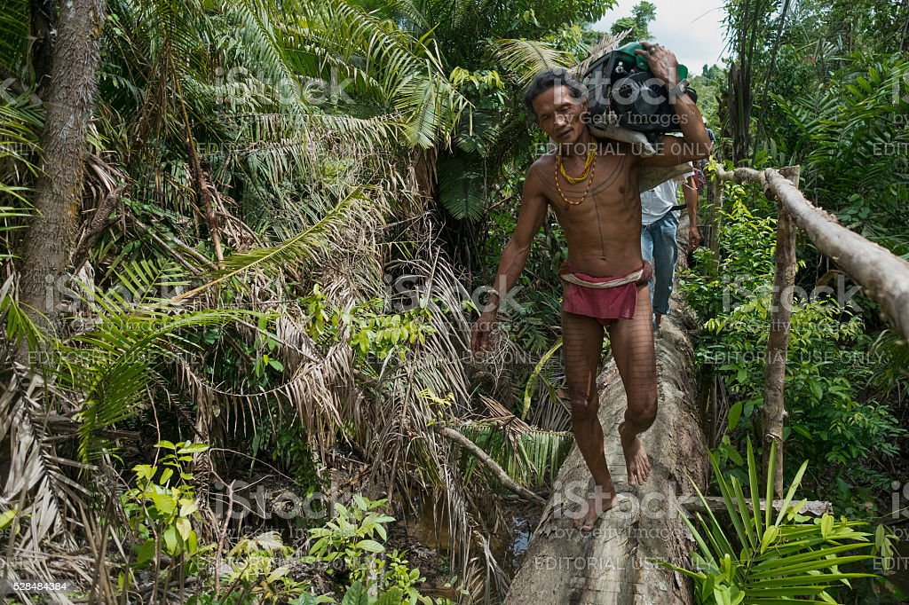 Mentawai tribe carrying a genset stock photo