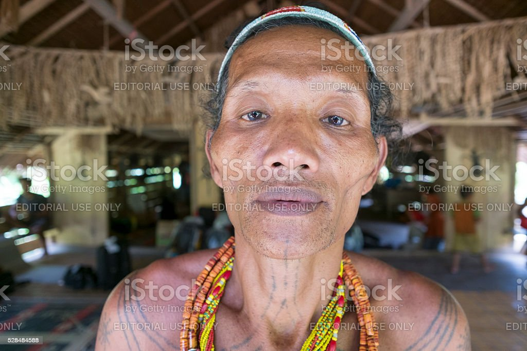 Mentawai tribe pose for camera stock photo