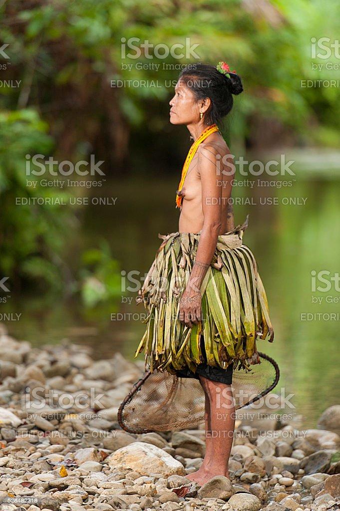 Mentawai women pose for camera. stock photo