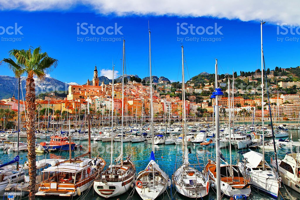 Menton, border France- Italy stock photo