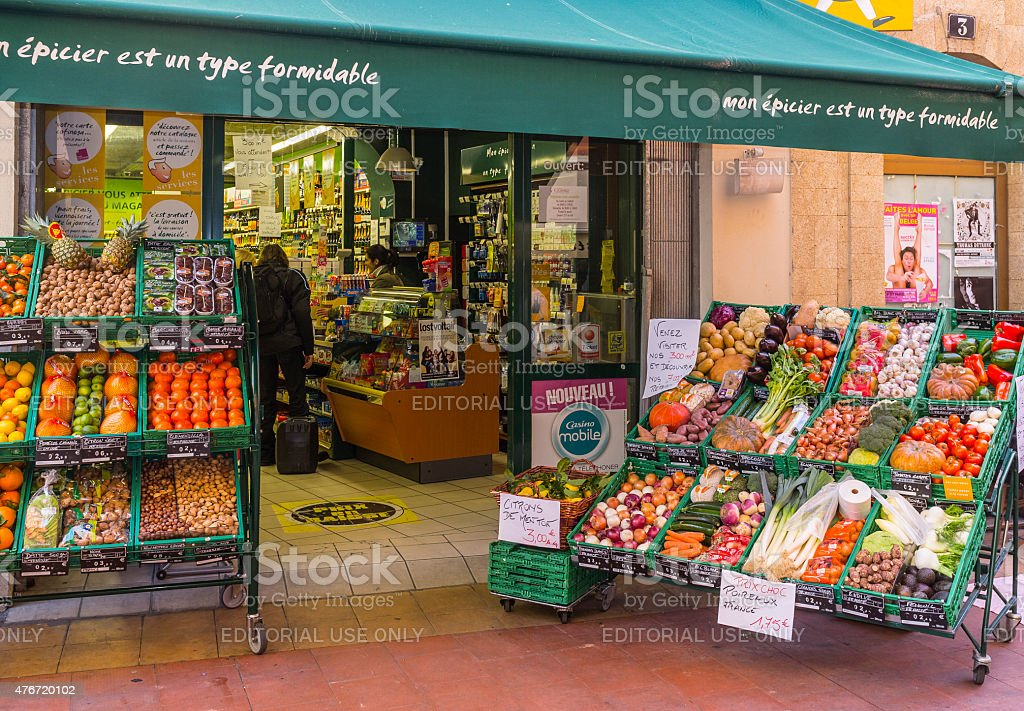 Menton (France). Greengrocer's shop in the old town stock photo