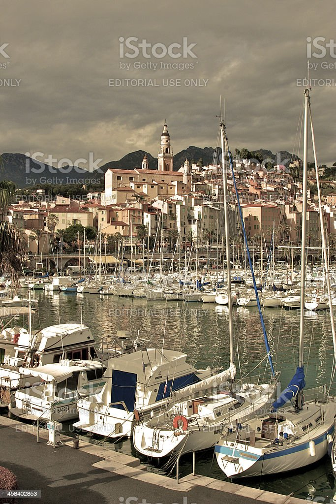 Menton Marina and the Old Town stock photo
