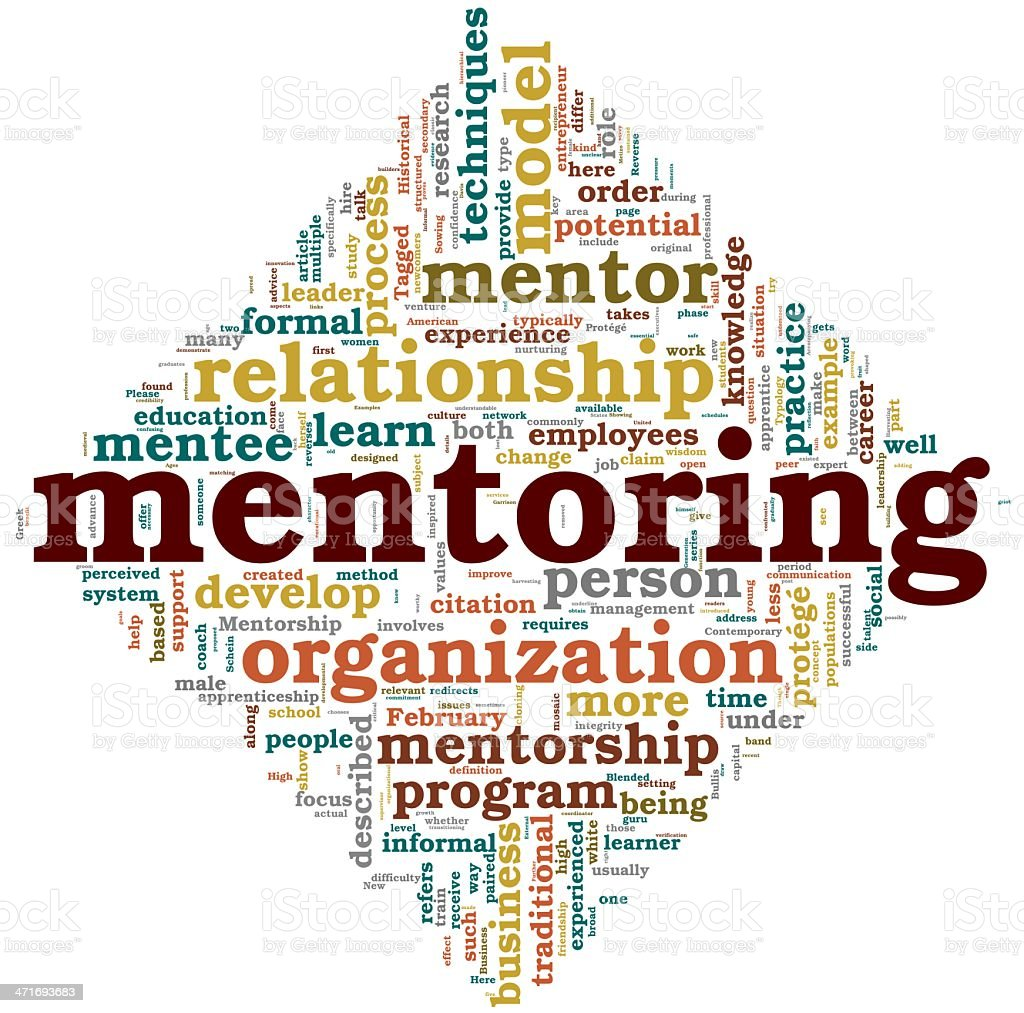 Mentoring concept in tag cloud stock photo