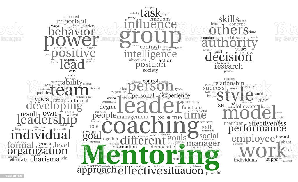 Mentoring concept in word tag cloud vector art illustration