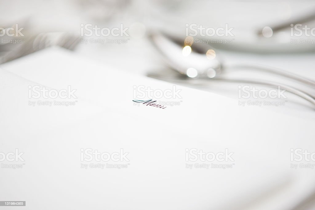 Menu and table stock photo