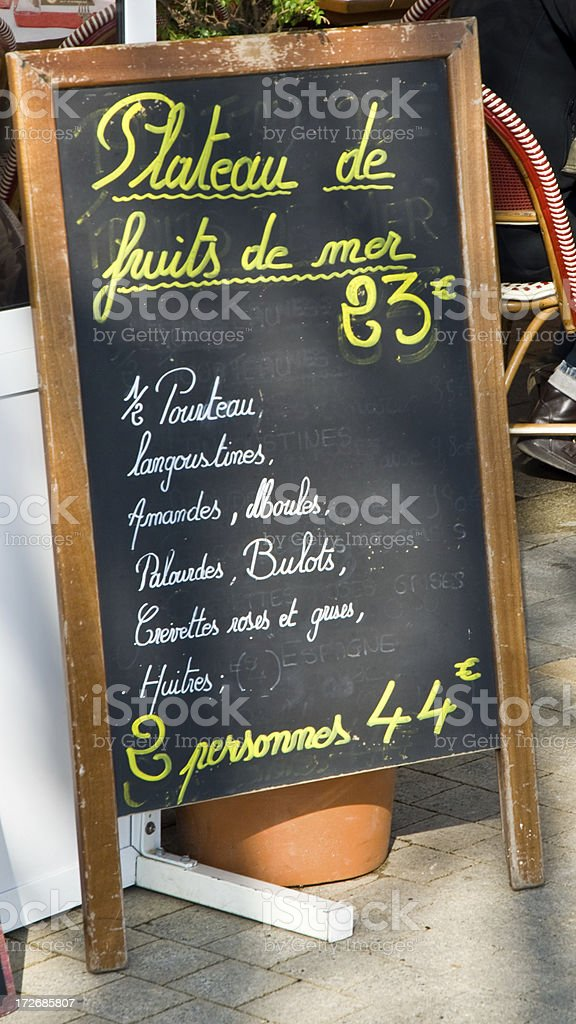 Menu Board in France stock photo