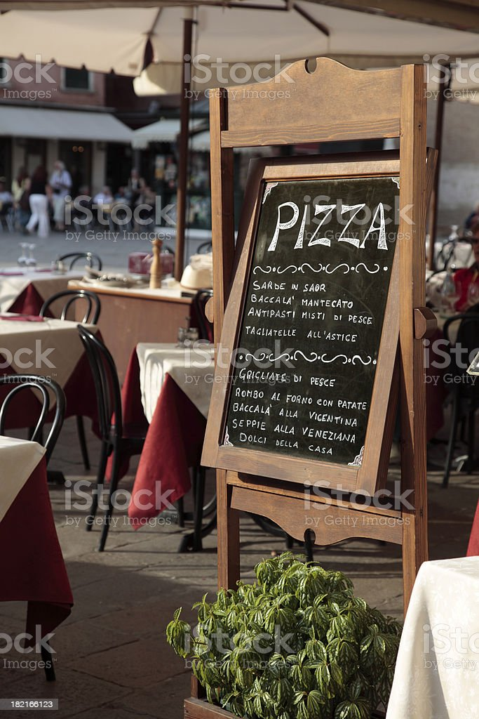 Menu board of Italian restaurant royalty-free stock photo