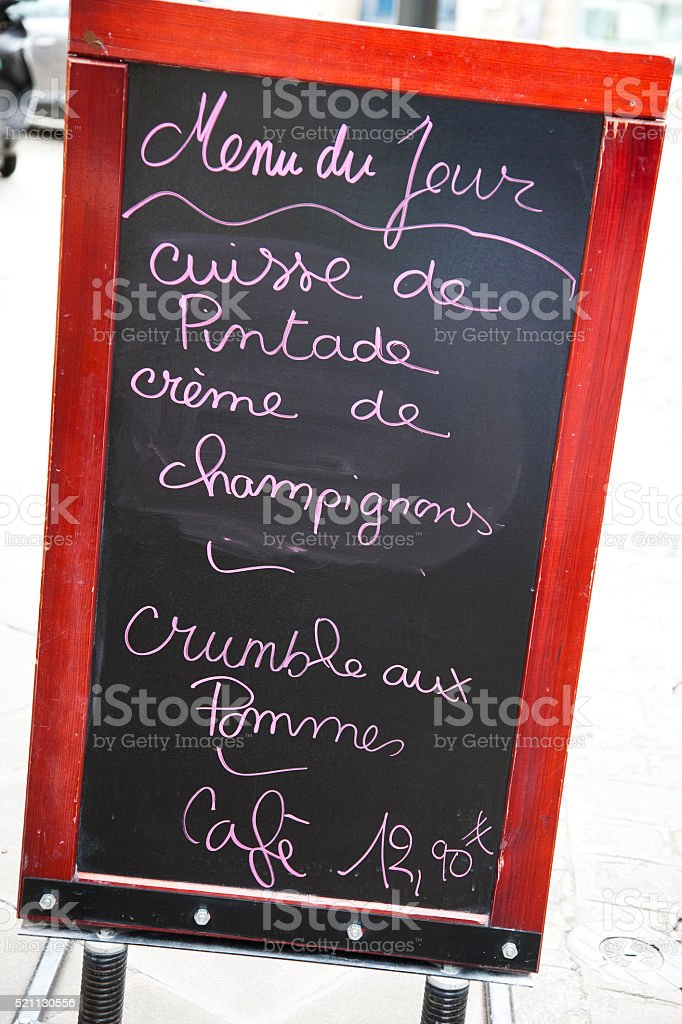 Menu Board on the street in Dijon, France stock photo