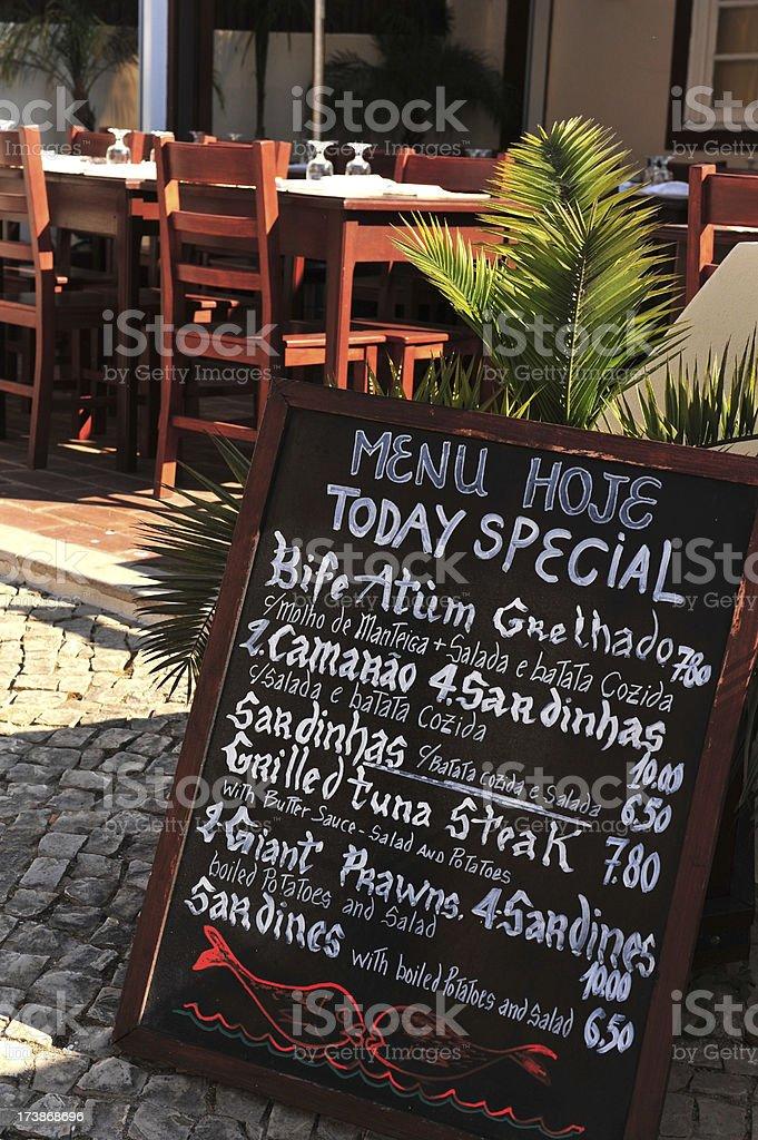 Menu board outside a fish restaurant in Albufeira, Algarve, Portugal stock photo