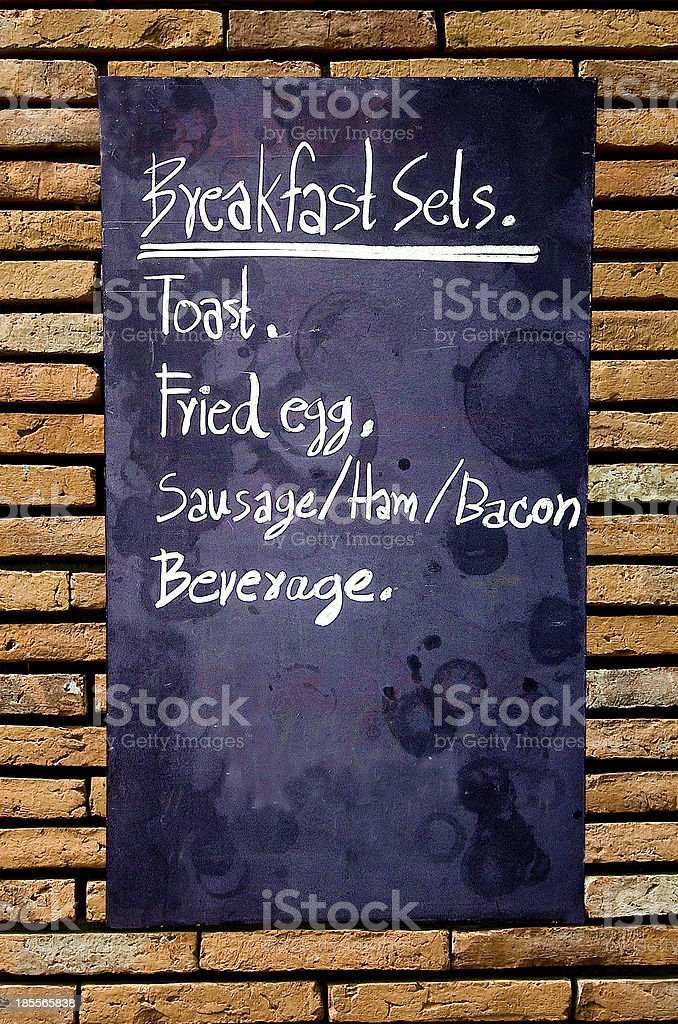 Menu breakfast blackboard on wall royalty-free stock photo
