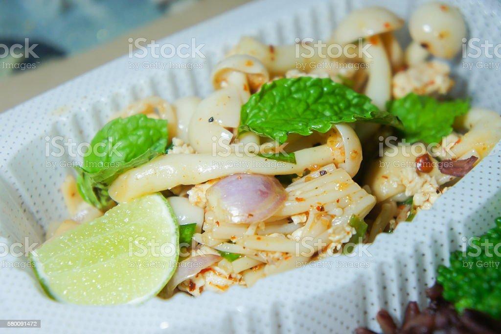 Menu clean food, Larb, Three mushroom sauce stock photo