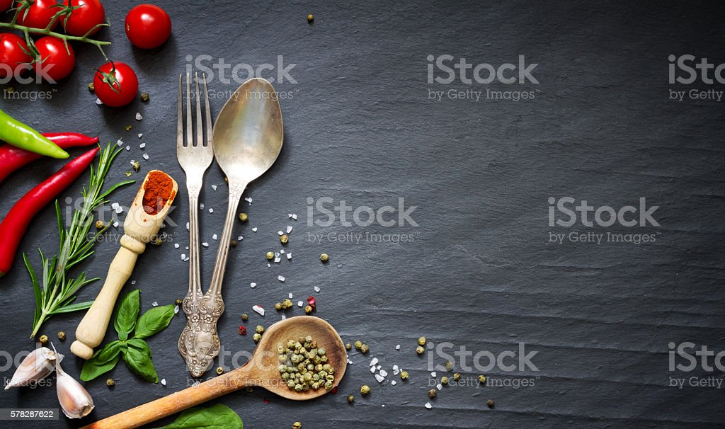Menu food culinary frame concept with cutlery stock photo