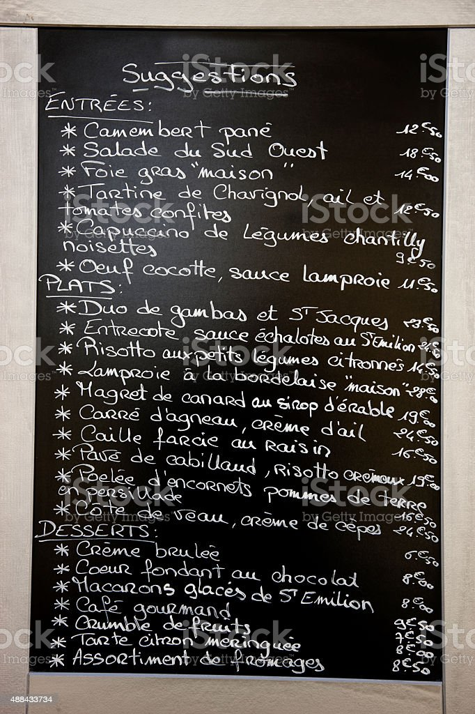 Menu from Saint Emilion, Bordeaux, France stock photo