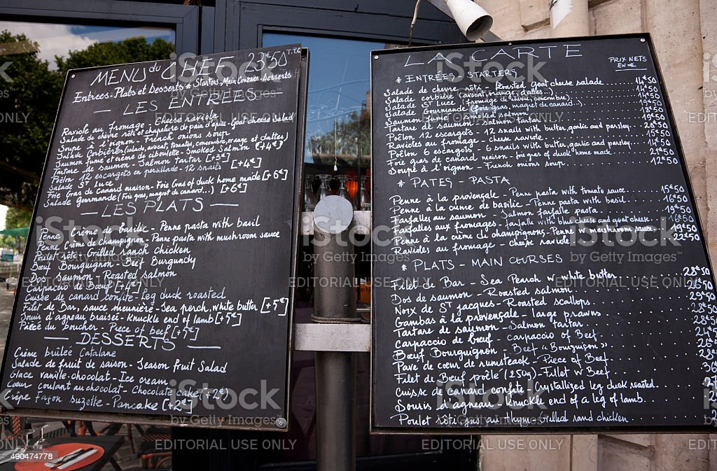 Menu in Paris in French and English stock photo