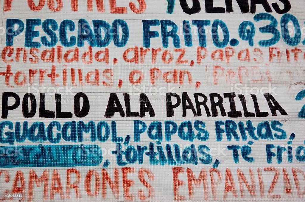 Menu in spanish, Santiago, Guatemala stock photo