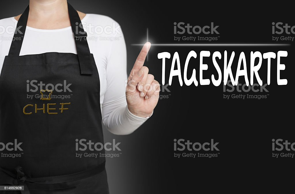 menu of the day in german tageskarte touchscreen stock photo
