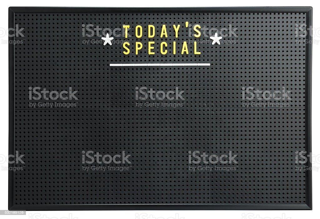 TODAY'S SPECIAL menu on a retro black pegboard notice board stock photo