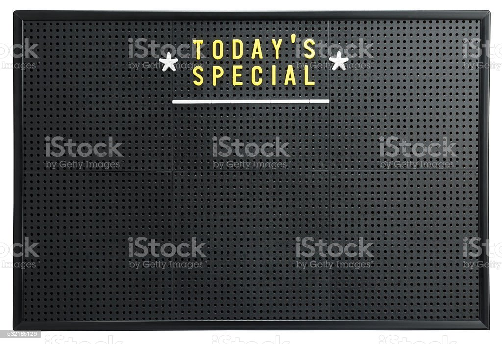 TODAY'S SPECIAL menu on a retro black pegboard notice board stock photo