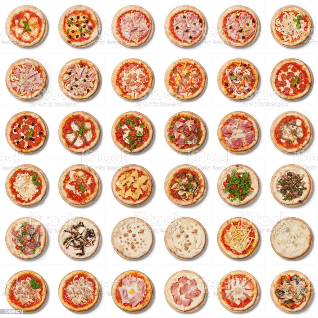 Menu, round Italian pizza on cutting board on white background stock photo