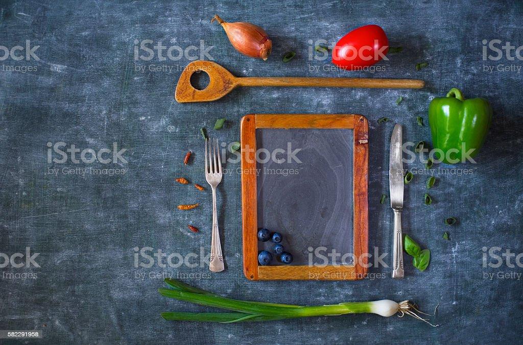 menu template design flat lay. Empty black board stock photo