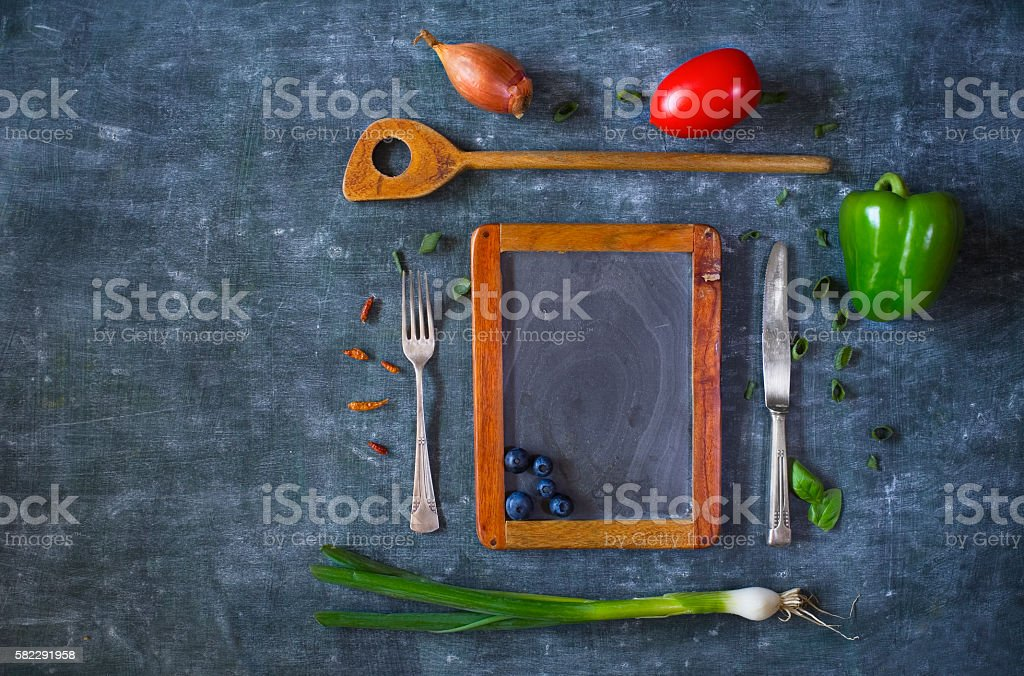 menu template design flat lay. Empty black board stock photo