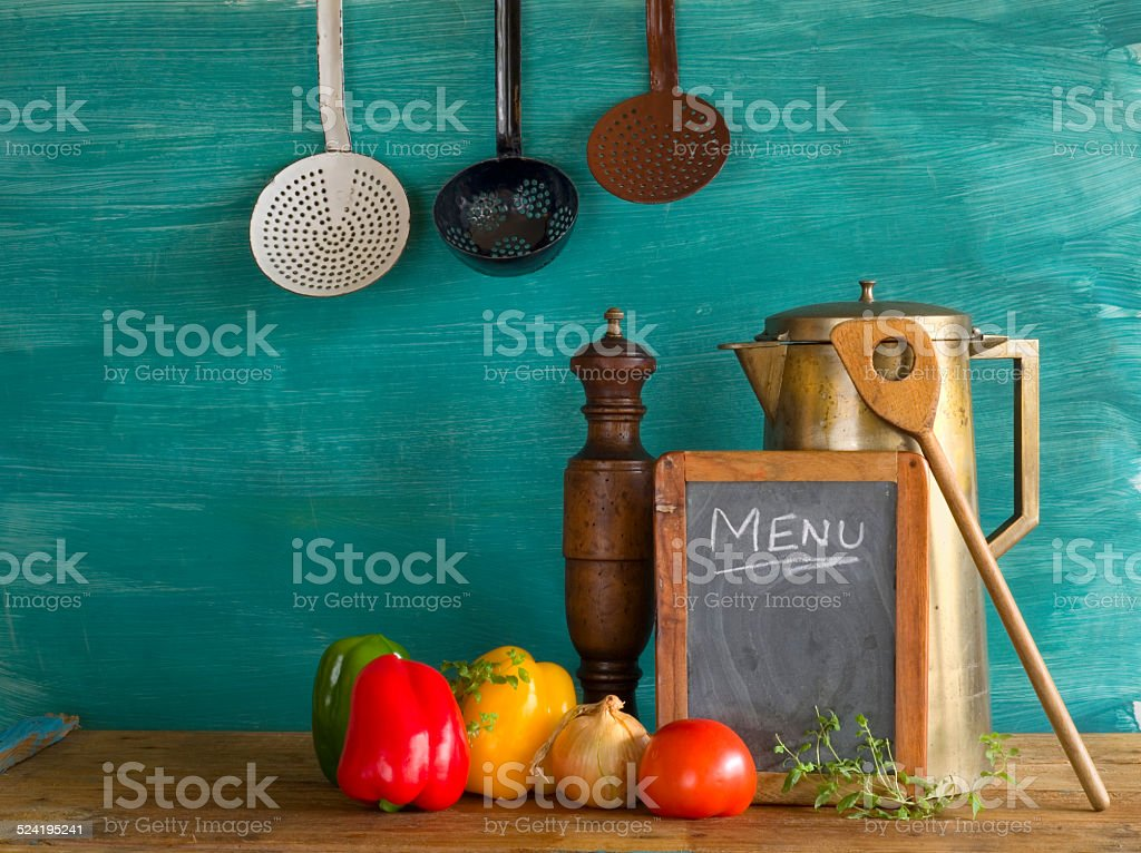 menu w. food ingredients, cooking recipes stock photo
