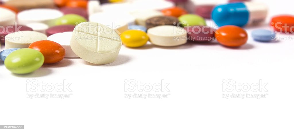 Meny different colourfull pills. Medicine background from much c stock photo