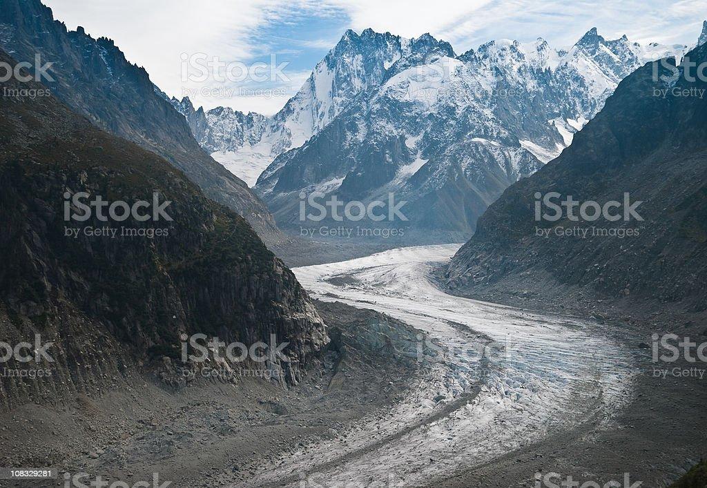 Mer de Glace Alpine Glacier stock photo