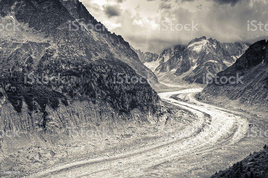 Mer de Glace Alpine Glacier royalty-free stock photo