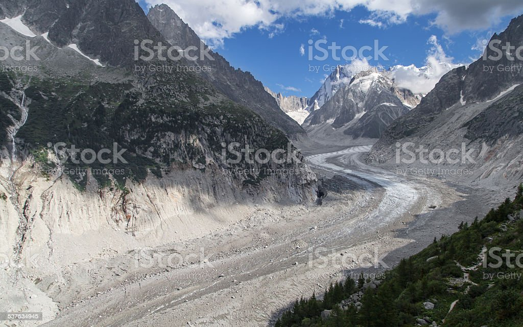 Mer de Glace from Montenvers stock photo