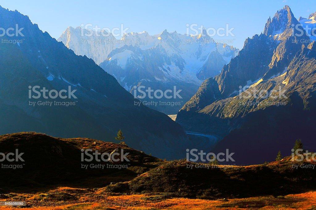 Mer de Glace, Mont Blanc idyllic alpine landscape countryside – Chamonix stock photo