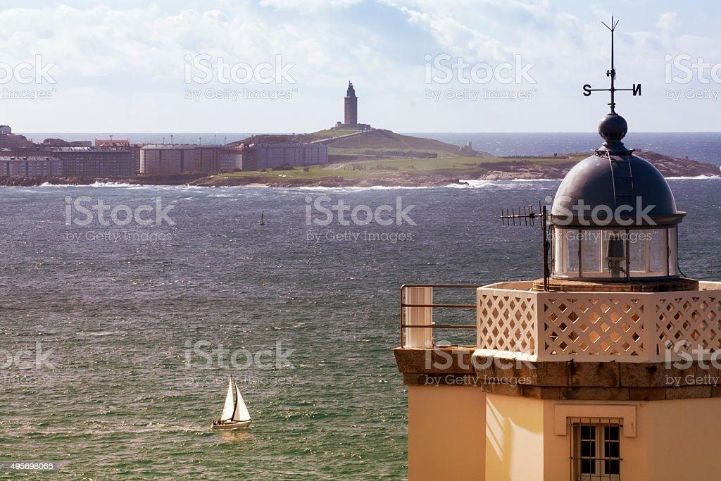 Mera lighthouse and Hercules tower, La Coruña, , Galicia, Spain. stock photo