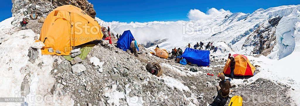 Mera Peak High Camp panorama Himalayas stock photo