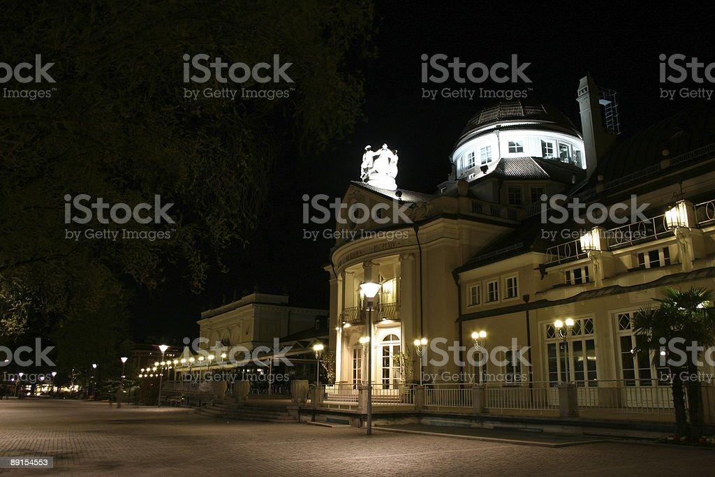 Merano city by Night stock photo