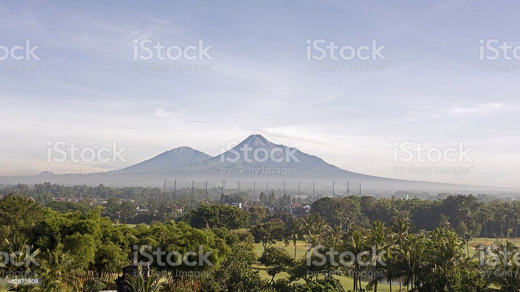 Merapi and Merbabu Volcano, Indonesia stock photo