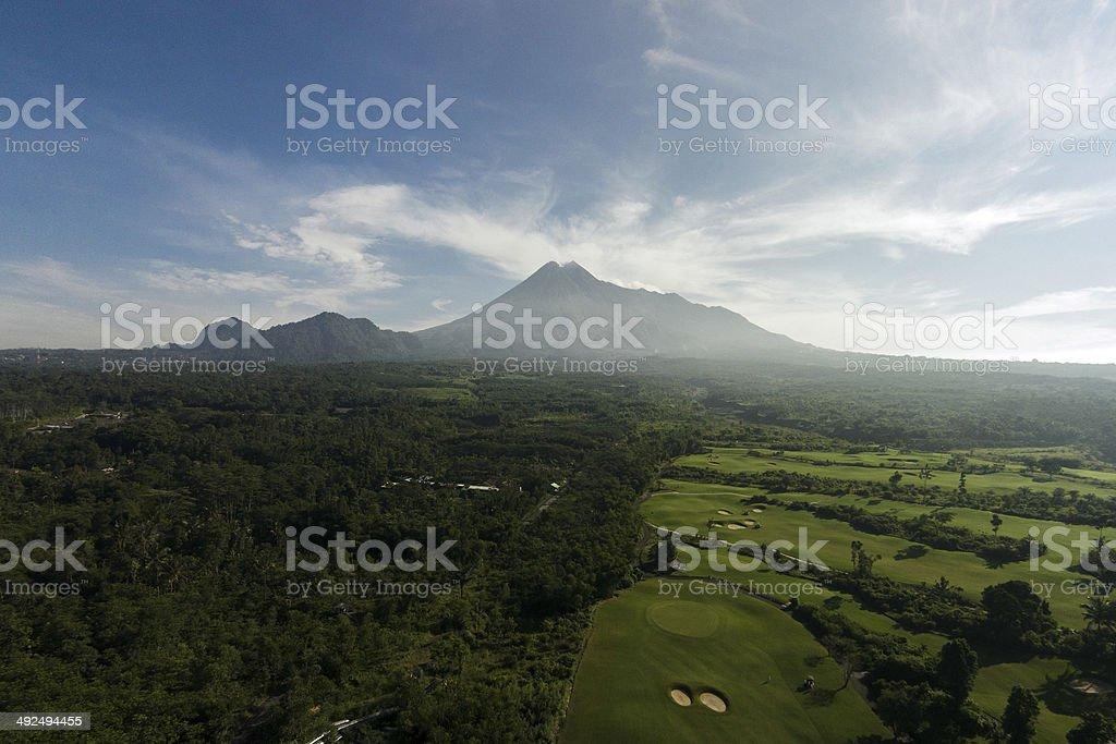 Merapi Volcano aerial stock photo