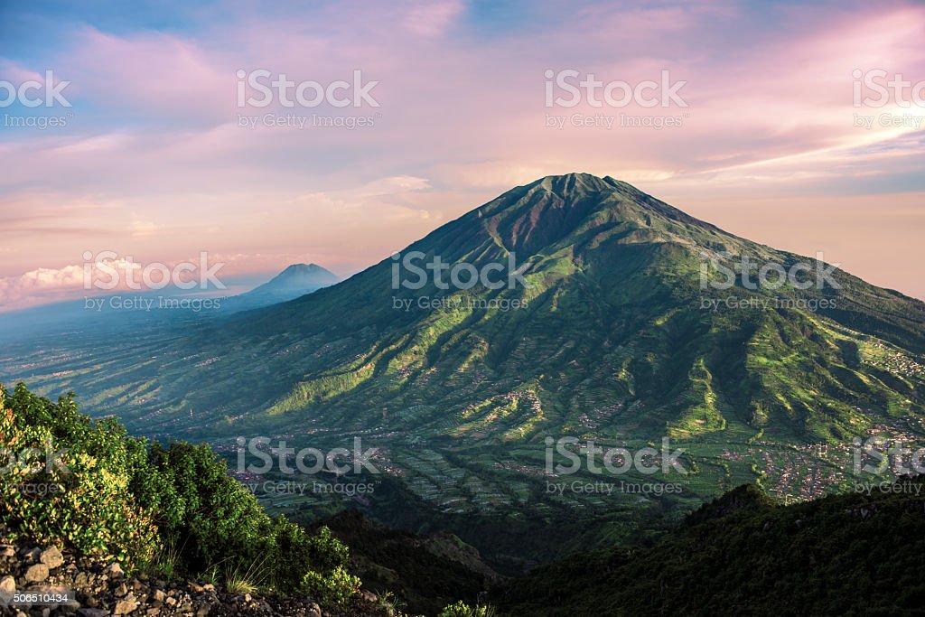 Merbabu volcano in Java stock photo