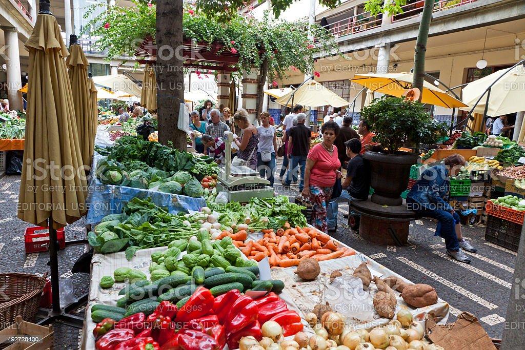 Mercado dos Lavradores market in Funchal, Portugal stock photo