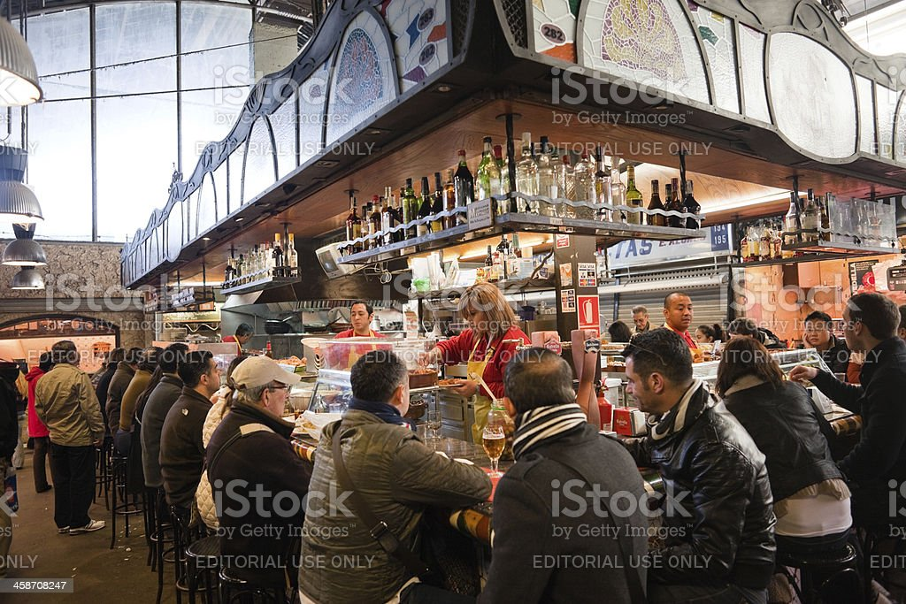 Mercat de la Boqueria Restaurant royalty-free stock photo