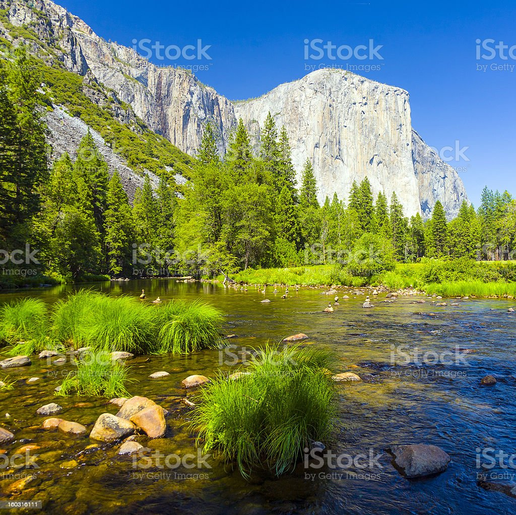 Merced River at Yosemite National Park royalty-free stock photo