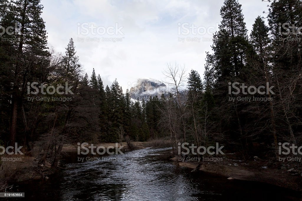 Merced River Flowing Through Trees With Halfdome In Background stock photo
