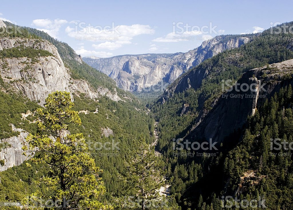 Merced river valley, Yosemite, California stock photo