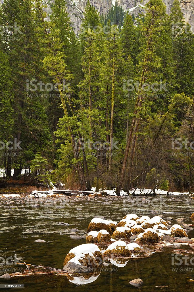 Merced River Winter Scene stock photo