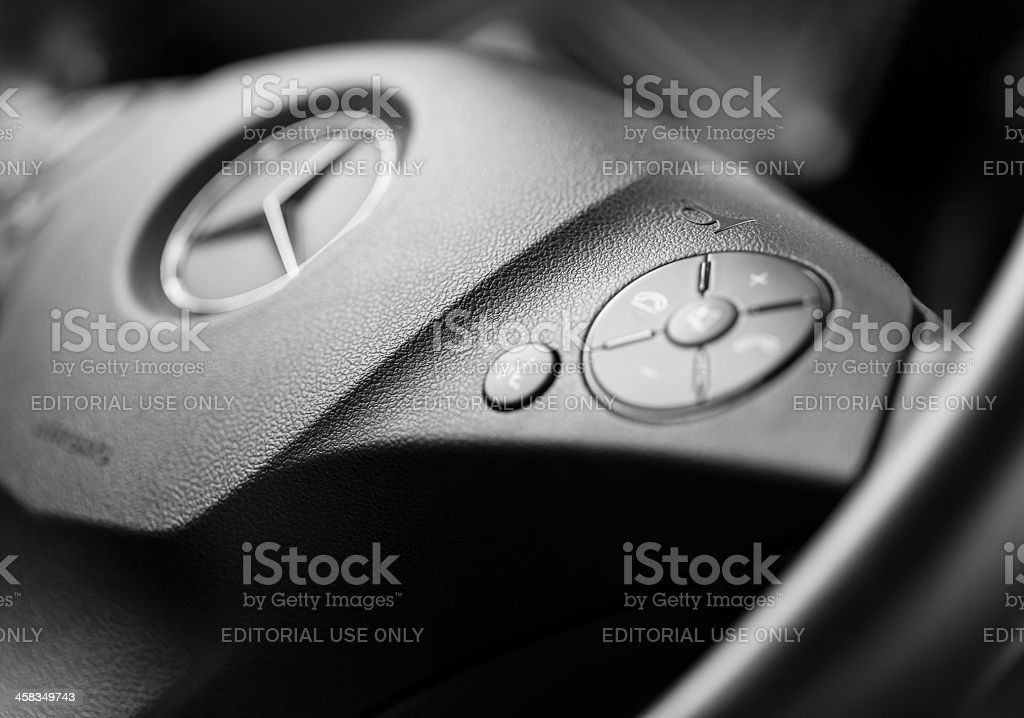 Mercedes AMG steering wheel stock photo