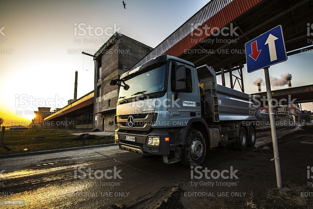 Mercedes - Benz Actros MPIII Dumper Truck at chemical industry stock photo