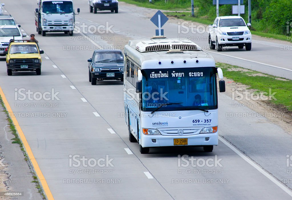 Mercedes benz bus of Nakhonchaiair company stock photo