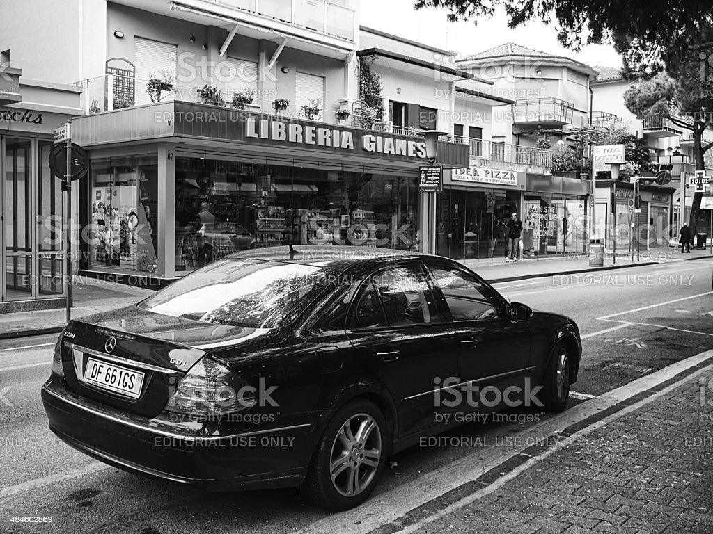 Mercedes Benz Car. Black and White royalty-free stock photo