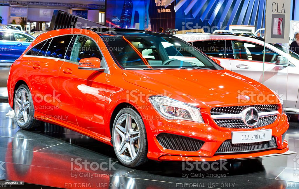 Mercedes Benz CLA Shooting Brake front view stock photo