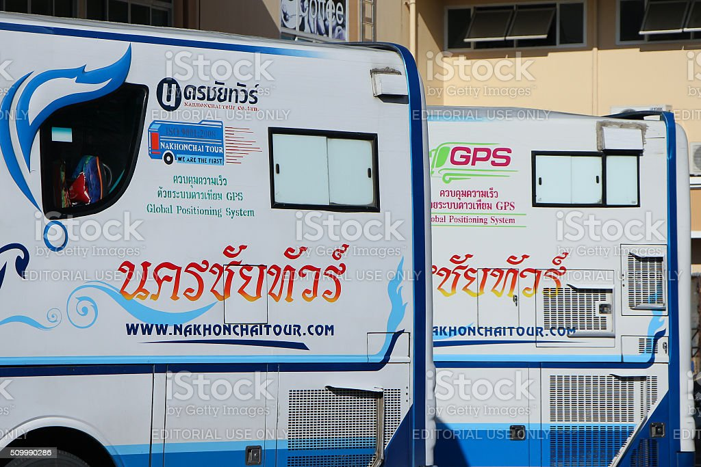 Mercedes benz of Nakhonchai tour company. stock photo
